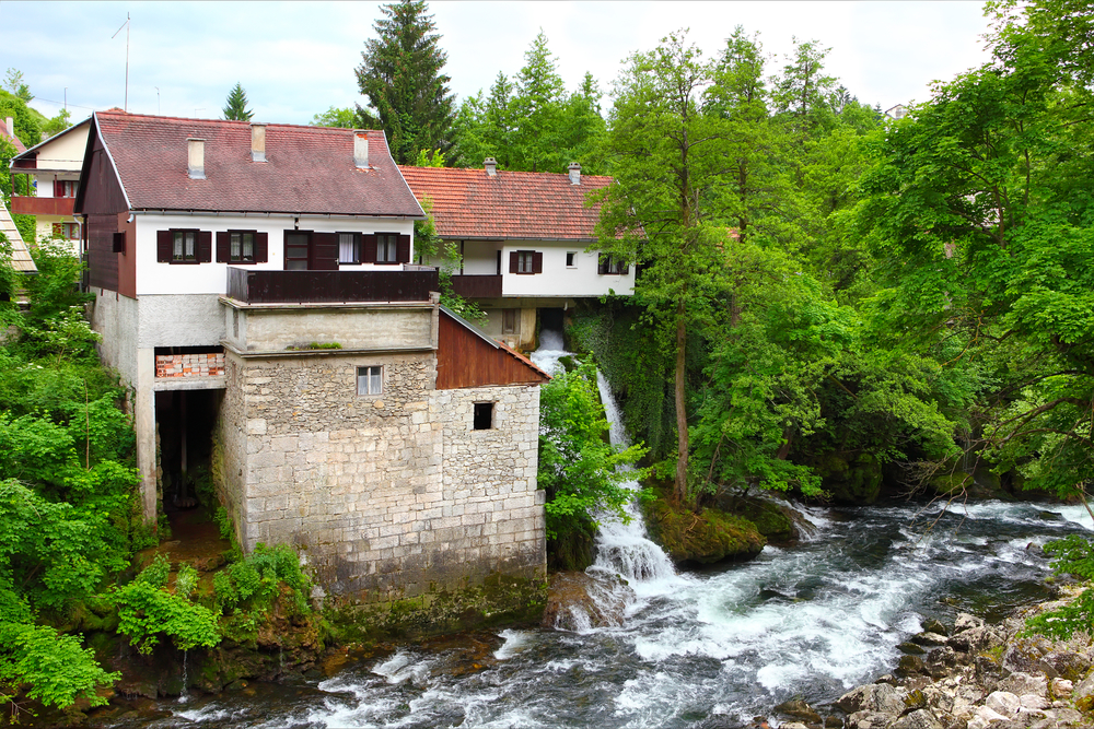 Historic, old part of Slunj, picturesque village where you will see old and well-preserved mills and many little waterfalls