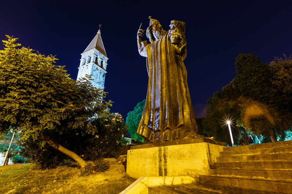 The statue of Gregory of Nin by Ivan Meštrović in Split. The Bishop Grgur introduced the national language in the religious services in 10th centruy. Rubbing the statue's toe is said to bring good luck.