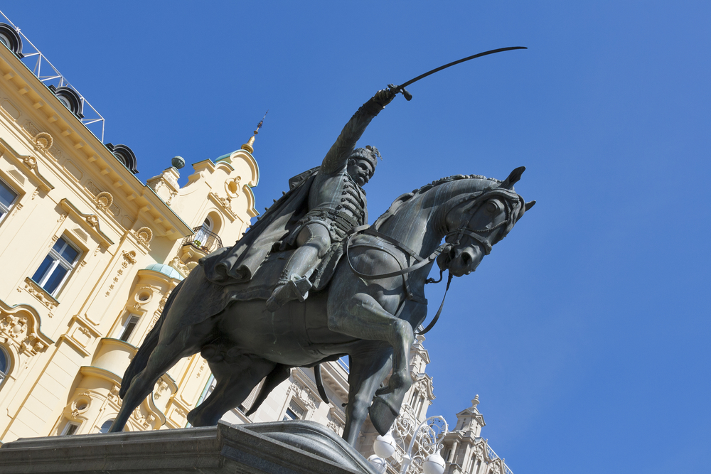 Statue of count Josip Jelacic on main square in Zagreb, Croatia