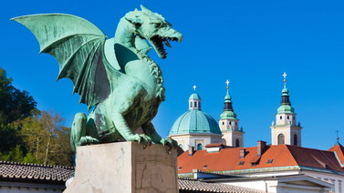 Famous Dragon bridge (Zmajski most), symbol of Ljubljana, capital of Slovenia, Europe.