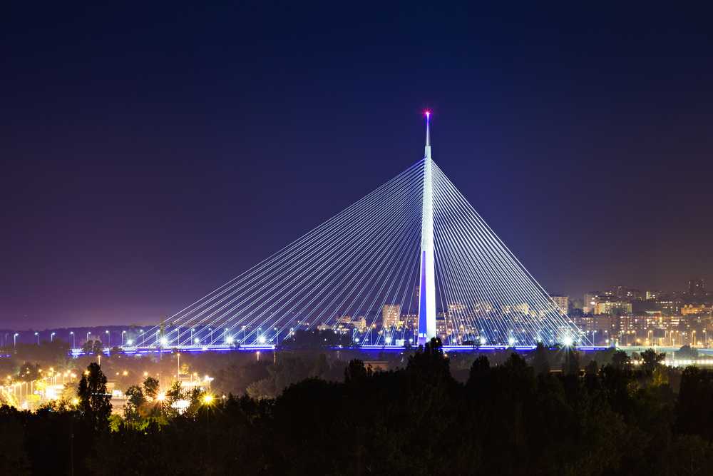 Ada bridge in the center of Belgrade
