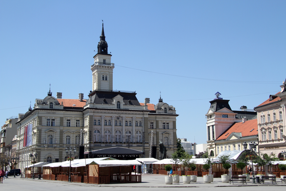 Old buildings on the main square of Novi Sad, Serbia